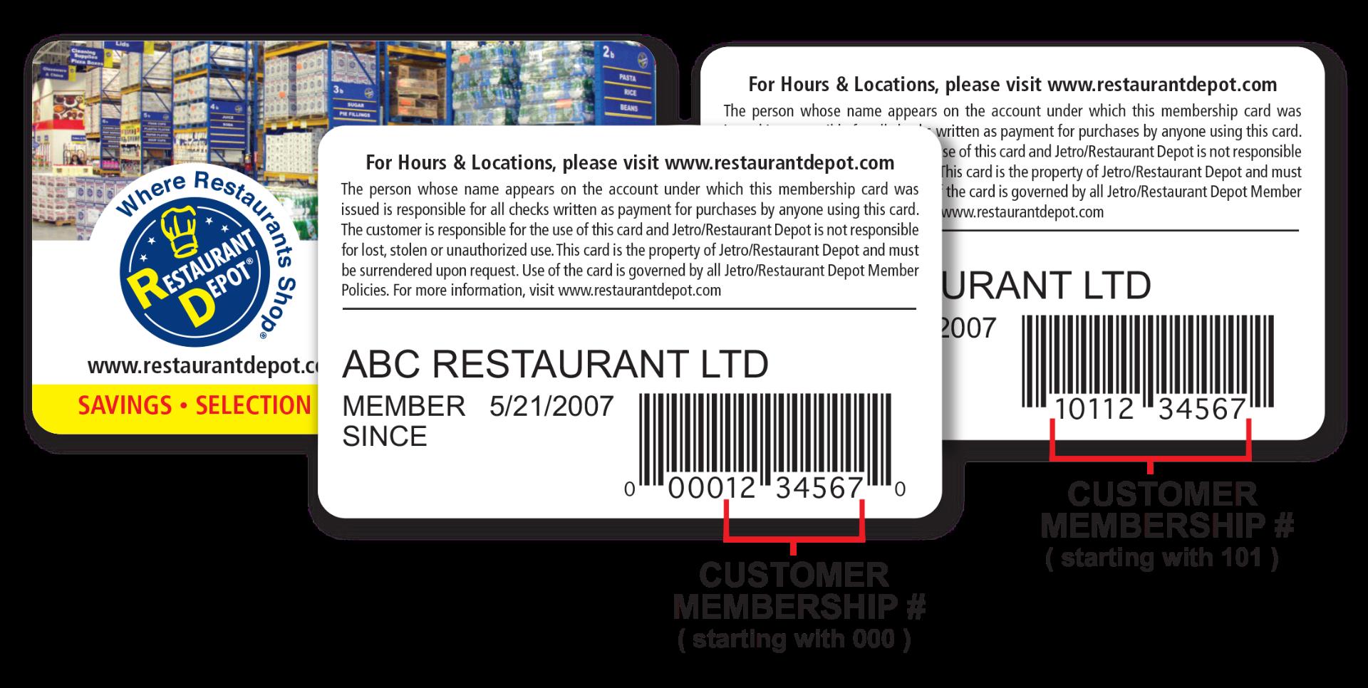 resturant depot member card membership number